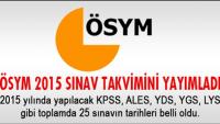 ÖSYM Sınav Takvimi 2015